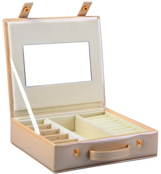 Small Faux Leather Jewellery Box Travel Storage Bag Organizer Display Case for Rings Earrings Necklace - Light Gold