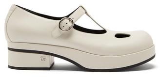 Gucci Vanda T-bar Leather Platform Flats - White