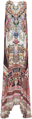Camilla Tiny Dancer Crystal-embellished Printed Silk Crepe De Chine Maxi Dress