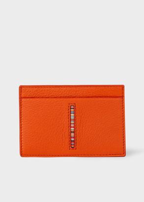 Paul Smith Men's Orange Leather Credit Card Holder With 'Signature Stripe' Insert