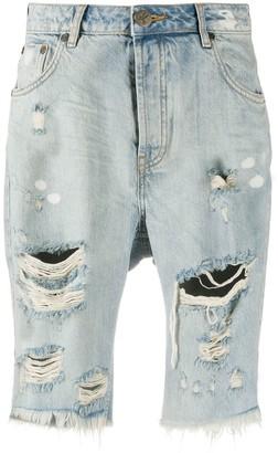 One Teaspoon Distressed Knee-Length Shorts