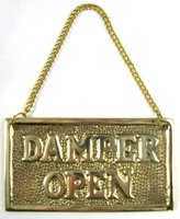 Insideout Hanging Solid Brass Fireplace Damper Open Closed Sign