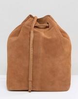 Selected Suede Cognac Bucket Bag