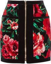 Balmain Floral-print cotton-velvet mini skirt