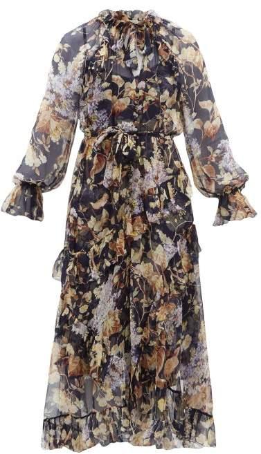 Zimmermann Sabotage Floral Print Silk Chiffon Midi Dress - Womens - Navy Print