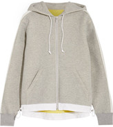 Sacai Oversized Grosgrain-trimmed Cotton-blend Jersey Hooded Top - Gray