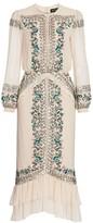 Saloni Isa Bead & Embroidery Silk Blouson Midi Dress