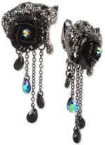 Betsey Johnson Hematite-Tone Black & Gray Pavé Flower & Jaguar Clip-On Drop Earrings