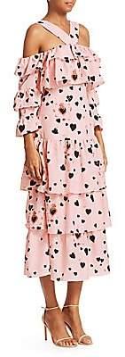 Borgo de Nor Women's Sandra Heart Polka Dot Halter Tiered A-Line Dress