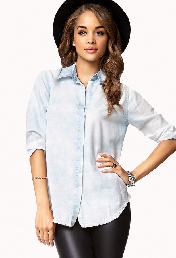 Forever 21 Bleached Denim Shirt