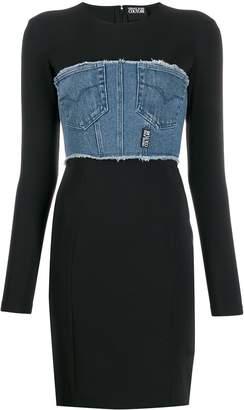 Versace denim-panel fitted dress