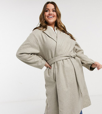 Vero Moda Curve tailored coat with belted waist in oatmeal