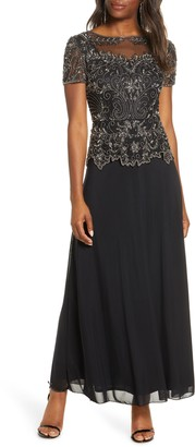 Pisarro Nights Embellished Mesh Bodice Evening Gown