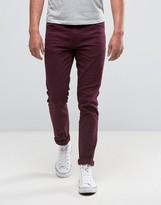Farah Skinny Jeans In Bordeaux Stretch Twill
