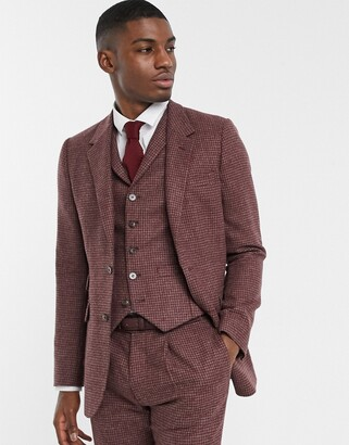 ASOS DESIGN slim suit jacket in burgundy and grey 100% lambswool puppytooth