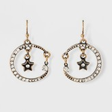 Women's Earring Drop Moon With Stones on French Wire - Gold