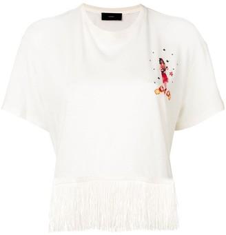 Alanui fringed embroidered T-shirt