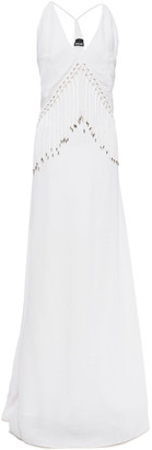 Just Cavalli Embellished Fringed Cady Maxi Dress