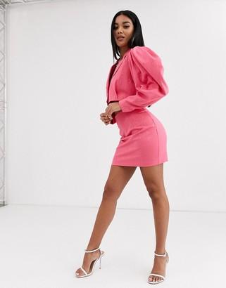 Asos Design DESIGN premium jacquard suit mini skirt-Pink