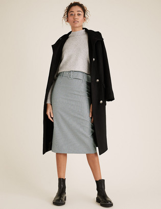 Marks and Spencer Checked Belted Pencil Skirt
