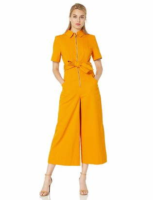 C/Meo Women's Regardless Cropped Wide Leg Collared Utility Jumpsuit