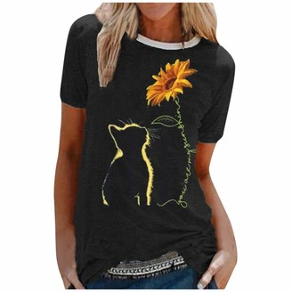 Lazzboy Women Short Sleeve T Shirt Solid Cat Sunflower Print O Neck Casual Tunic Fit Ladies Top Blouse (8