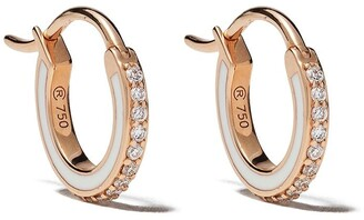 Raphaele Canot 18kt rose gold Skinny Deco diamond and enamel mini hoops