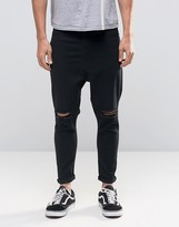 Asos Spray On Drop Crotch Jeans With Knee Rips In Black