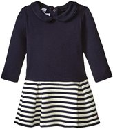 Petit Bateau Dress With Quilted Skirt (Baby) - Navy White - 18 Months