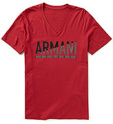 Armani Exchange Logo Short-Sleeve V-Neck Graphic Tee
