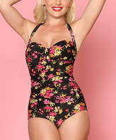 Bettie Page Black Floral One-Piece - Plus Too