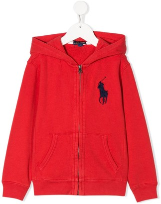 Ralph Lauren Kids Logo Embroidered Zipped Hoodie