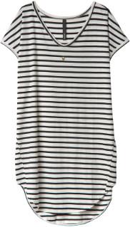 10 Days - Ecru and Black Stripes Dress - 2