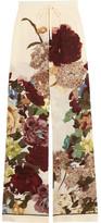 Valentino Floral-print Silk Crepe De Chine Wide-leg Pants - Ecru