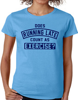 Blue 'Does Running Late Count As Exercise?' Crewneck Tee