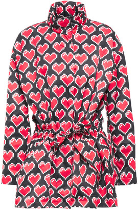 Love Moschino Belted Printed Shell Hooded Jacket