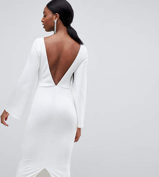 Asos Tall DESIGN Tall high neck bodycon midi dress with open back and flared sleeve-White