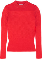 Carven Pointelle-knit Wool-blend Sweater - Red