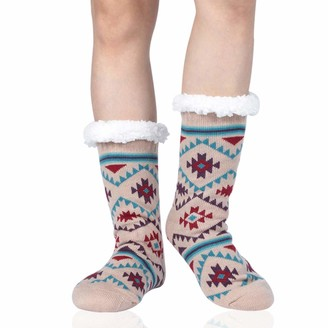 Sunew Fuzzy Slipper Socks Women's Girls Vintage Soft Warm Thick Fleece Lined Christmas Stockings For Winter Home Sleeping Anti Slip Christmas Gifts Socks Beige One Size 1 Pair