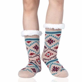 BEIGE Fuzzy Slipper Socks Sunew Women's Girls Vintage Soft Warm Thick Fleece Lined Christmas Stockings For Winter Home Sleeping Anti Slip Christmas Gifts Socks One Size 1 Pair