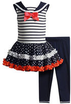 Sweet Heart Rose Sweetheart Rose Baby Girls Two-Piece Sailor Dress and Leggings Set