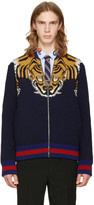 Gucci Navy Tiger Zip-up Sweater