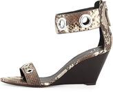 Giuseppe Zanotti Snake-Print Grommet Wedge Sandal
