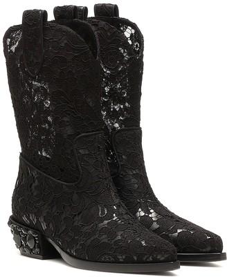 Dolce & Gabbana Lace cowboy boots
