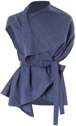 Meem Label Lincoln Asymmetric Wrap Top Blue