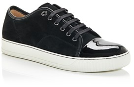 Lanvin Men's Suede & Patent Cap Toe Low-Top Sneakers