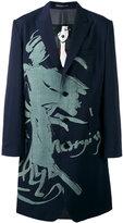 Yohji Yamamoto printed blazer midi coat - men - Silk/Cupro/Wool - 2