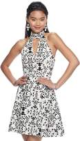 My Michelle Juniors' Print Scuba Fit & Flare Dress