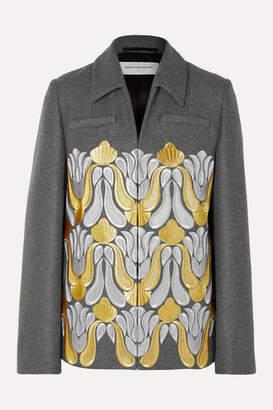 Dries Van Noten Valery Embroidered Metallic Wool-blend Jacket - Dark gray