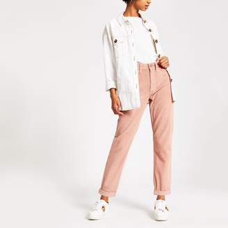 River Island Womens Light Pink cord Mom jeans